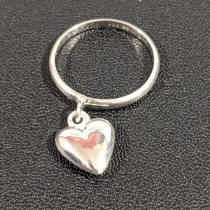 Jewelry - Silver Ring with Puffed Heart accent